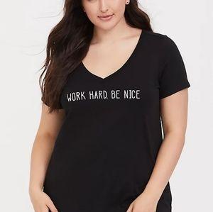 TORRID WORK HARD BLACK SLIM FIT V-NECK TEE